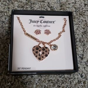 Nwt juicy couture rose gold necklace & earring set